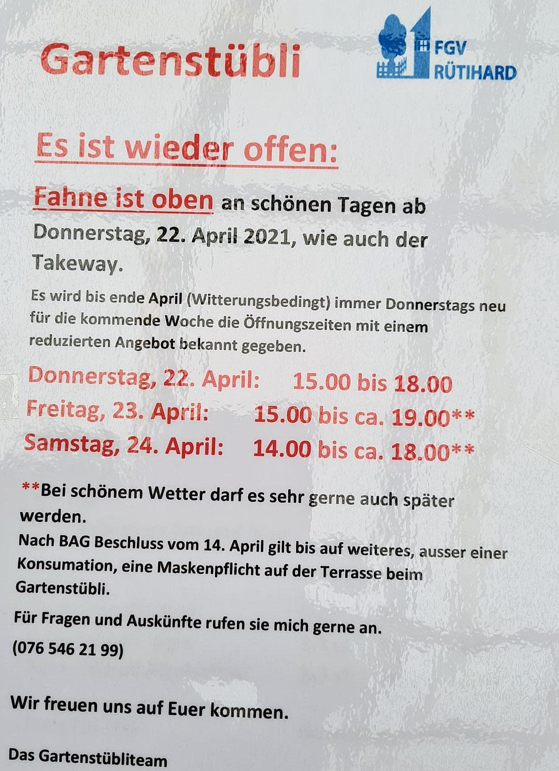 FGV Rütihard / Gartenstübli